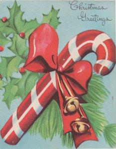 Cartão de Natal dos anos 50, já usava a peppermint candy dane como símbolo do Natal.