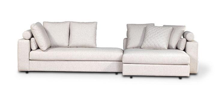 O sofá Lugano vem com peças intercambiáveis que podem ser montadas como quiser.