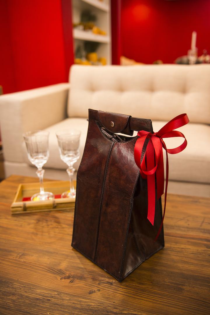 Sacola de vinho de couro - Cecilia Dale