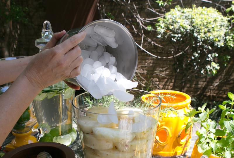 Encha o centro da suqueira com gelo.
