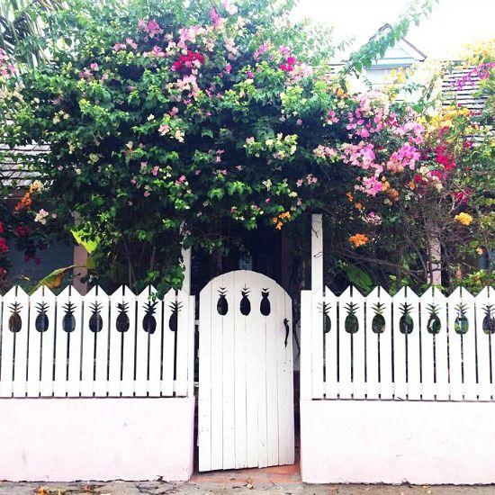 Cerca de casa nas Bahamas com recortes em forma de abacaxi.
