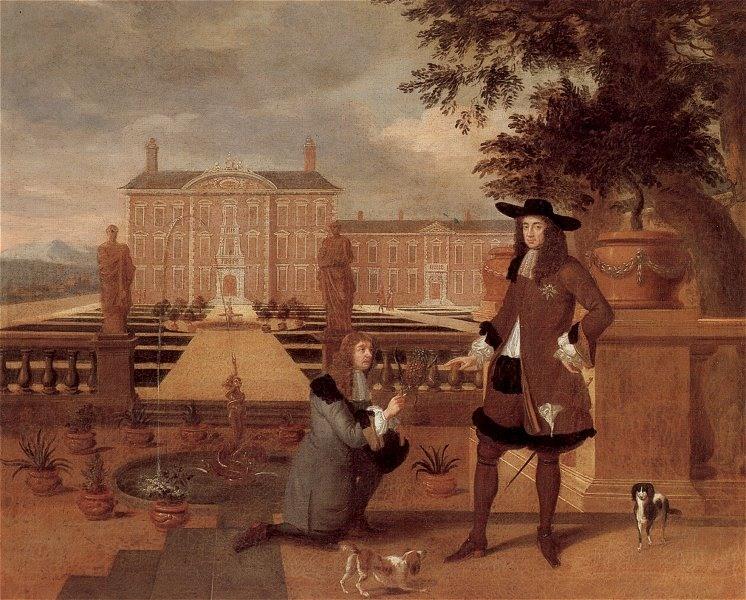 O jardineiro real presenteia o rei Charles II com o primeiro abacaxi colhido nas estufas do palácio.