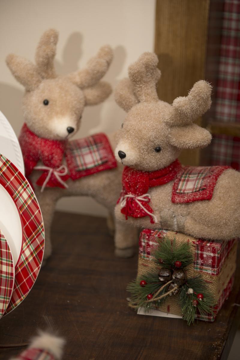 Renas de cachecol enfeites de Natal