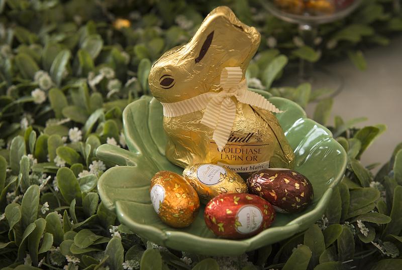 Este outro coelho maior escolheu a folha redonda de cerâmica para se aninhar.